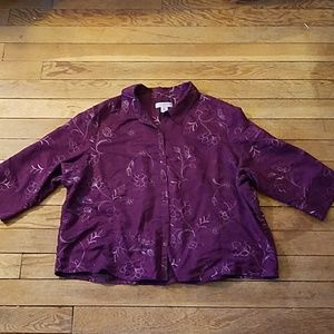 Purple embroidered floral flowers button down